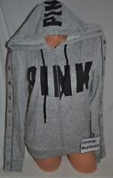 Victoria's Secret PINK Snap Sleeve Perfect Full Zip Hoodie Marl Gray Jacket S,M