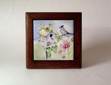 Hickory framed ceramic tile original artwork birdhouse, titmouse, pink cosmos
