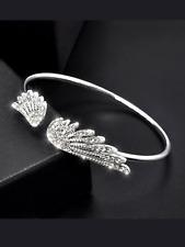 Ladies 925 silver angel wings bracelet cuff bangle jewellery present gift
