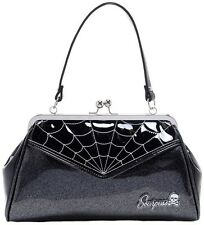 SOURPUSS SPIDERWEB BACKSEAT BABY PURSE GBLK/SILVER GLITTER VINYL ROCKABILLY NEW