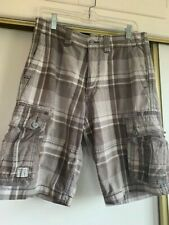 Men's Levi Strauss Authentic Cargo Shorts, Gray Plaid, Size 30