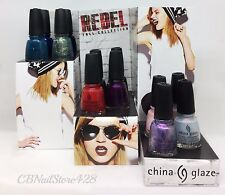 China Glaze -REBEL Fall Collection 12 colors 1470-1481 (83610-83621) -NO DISPLAY