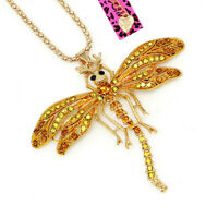 Betsey Johnson Enamel Crystal Dragonfly Pendant Sweater Chain Animal Necklace