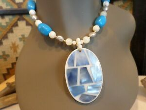 Lee Sands Turquoise White and Blue Mother of Pearl Pendant Fashion Necklace