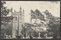 Postcard Perranzabuloe near Truro Cornwall the Parish Church early view