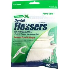 90 Mint Flavor Dental Flossers w/ Interdental Pick Floss Picks Teeth Gum Cleaner