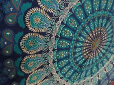 Indian Blue Turquoise Peacock Mandala Twin Tapestry Throw Arts Wall Hanging Deco