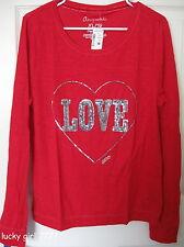 AEROPOSTALE Aero Womens Long Sleeve Tee Shirt Sequin LOVE RED XLarge XL $29.50