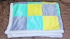 Cuddle Time Baby Blanket Squares Blocks Fleece Yellow Green Gray Super Soft