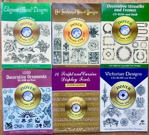 6 x Dover Free Pictorial Archive and Pictorial catalogues with CD-ROM archives