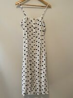 & Other Stories Stockholm Atelier Size M 12 White Black Polka Dot Midi Dress