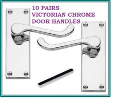 10 Silver CHROME Door Handle SETS VICTORIAN Scroll Lever Latch 118mm X 43mm D24