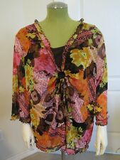 Laura Ashley Woman 3X Plus Size Brown Pink floral EUC flowy top gathered front