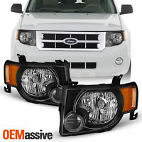 For 2008-2012 Ford Escape [OE Style] Black Headlights Left+Right Lights Lamps