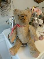 """Antique Jointed Straw Filled Mohair Teddy Bear 17"""" growler"""