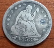 1853 US Seated Liberty Quarter Dollar with Arrows and Rays with detail