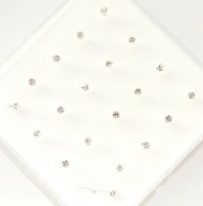 925 Sterling Silver Straight Clear Square Claw Set Crystal Nose Studs x20