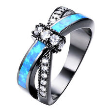 Unqiue Criss Cross Blue Fire Opal Band Black Gold Filled Wedding Ring Size 4-12