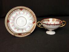 Antique Royal Schwarzburg Pedestal Cream Soup Bowl & Saucer Floral Swags Gold
