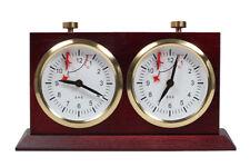 Bhb Wind Up tradicionales de madera reloj de ajedrez con un stand-Oscuro Grande