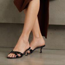 Manolo Blahnik Blue Callamu Patent Leather Kitten Heels Size 37.5 EU or 7.5 US