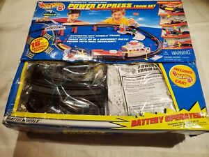 TESTED! Vintage 1999 Hot Wheels Power Express w/4 Trains Hot Wheel Car Complete