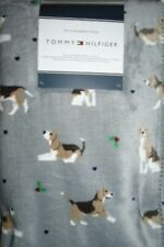 Tommy Hilfiger Blanket Throw Plush Fleece Sherpa Back Dogs Beagles Gray NWT