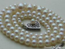 """BEAUTIFUL GRADUATED 18"""" HIGH QUALITY AKOYA PEARL NECKLACE 14 KT WHITE GOLD CLASP"""