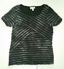 Fashion Bug Black Grey Lettuce Layered Tee Shirt Women's Small Casual Tiered New
