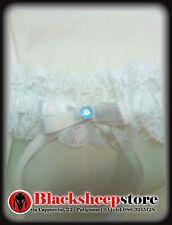 Giarrettiera sposa con cristallo celeste pizzo e raso Bianco made in Italy sexy