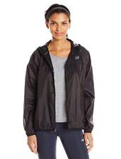 NWT $70 Women's New Balance Windbreaker Jacket Reflective Hooded Jacket Black L
