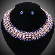 Women Costume Collar Statement Blue Crystal Necklace Earring Wedding Party Sets