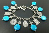 "Vintage ATI Sterling Silver 925 Turquoise Cross Charm Bracelet 7"""