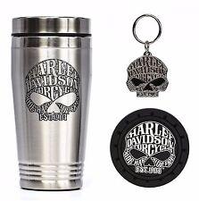 Harley Davidson Willie G 3 Pc Gift Set - Travel Mug, Keychain, Coaster