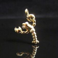 TIFFANY & CO ~ NIB DIAMONDS 18K GOLD LOBSTER CHARM PENDANT ~ BOX, POUCH, RIBBON