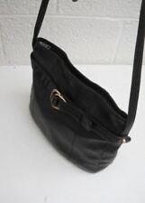 Korean-Made Black Soft Leather Shoulder Bag with Black Leather Lining