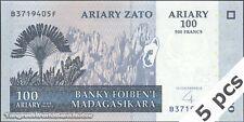 TWN - MADAGASCAR 86b - 100 Ariary 2004 UNC B XXXXXXX F DEALERS x 5