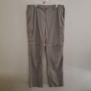 Columbia Mens Zip Off Hiking Fishing Convertible Pants Omni-Shade XL Beige 40x34