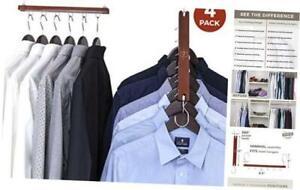 Space Saving Hangers for Closet Organizer - 4 Pack Wood Shirt Organizer for