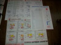Lot of 5 Vintage Tecumseh Carburetor Troubleshooting & Adjustment Charts 1980-90