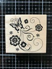 New Inkadinkado Rubber Stamp BUTTERFLY FLOWER FLOURISH free USA ship wd mntd
