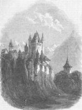 Svizzera. il CASTELLO DI THUN, antica stampa, 1856