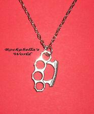 Halskette Mini Knuckle Duster HOT Schlagring Kette Rockabilly Metal Punk