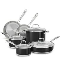 New KitchenAid Stainless Steel 10-Pc Cookware Pots & Pans Set KCSS10OB Black