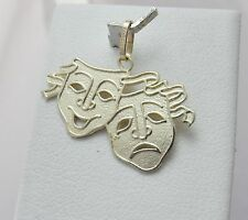 14K Gold Theatrical Comedy & Tragedy Charm Pendant 1gr