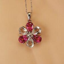 Pink White Topaz Pendant Necklace SOLID 10k White Gold 2.65 ctw New whg