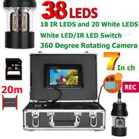 "7""LCD DVR 20/50/100M Underwater Fishing Video Camera+38 LEDs 360 Degree Rotating"