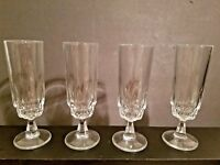 Set of 4 Tall Footed Stemmed thumbprint cut crystal champagne glasses