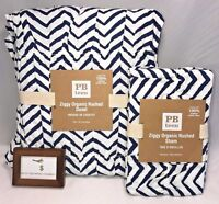 Pottery Barn Ziggy Organic Ruched Twin Duvet Cover With Standard Sham Navy Dorm