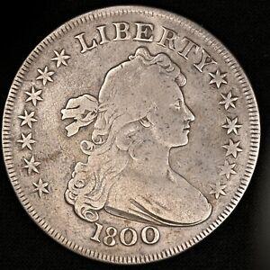 1800 Draped Bust Silver Dollar (Heraldic Eagle) $1 - BB-187, B-16